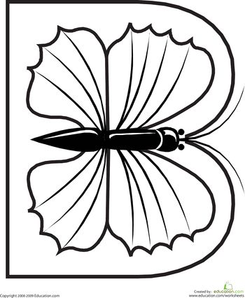 Worksheets: Letter B Coloring Page