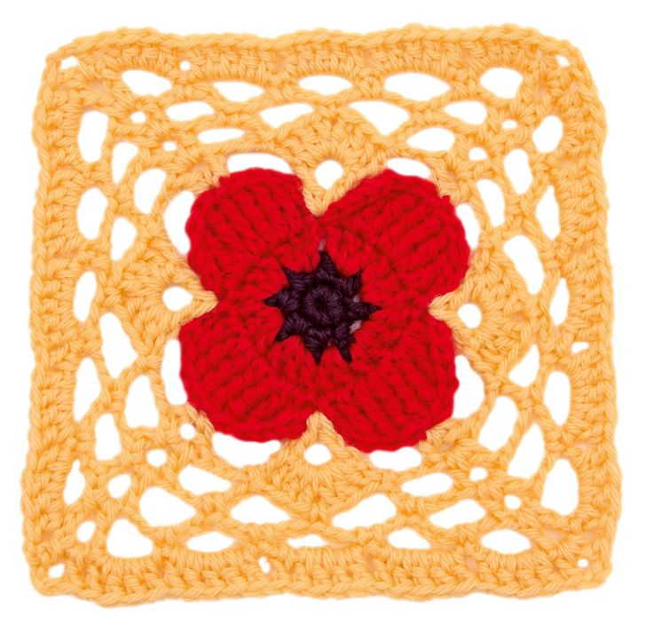 Stitchfinder : Crochet Floral Block: Poppy Square : Frequently-Asked Questions (FAQ) about Knitting and Crochet : Lion Brand Yarn