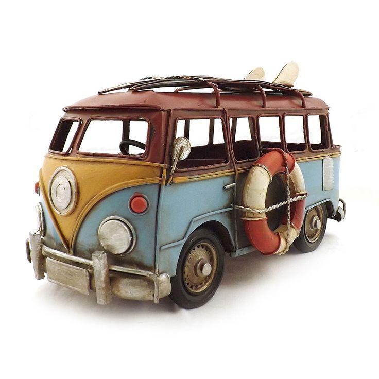 Miniatura de Kombi Colorida com Pranchas Oldway - Em Metal - 28x17 cm | Carro de Mola - Decorar faz bem.
