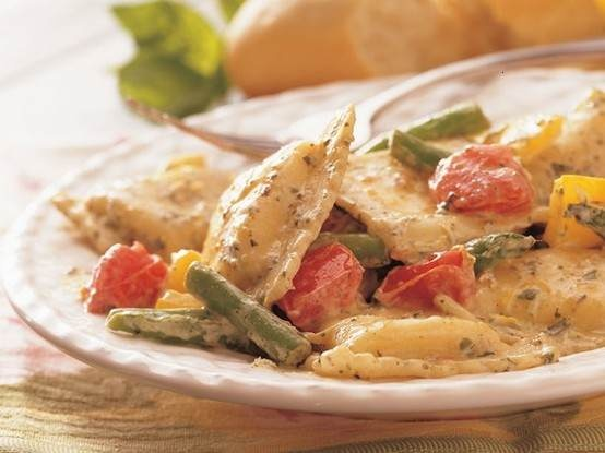 ravioli with pesto cream - i'm thinking zucchini, asparagus, and red ...