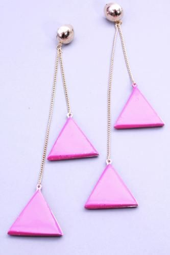 Gold Pink Drop Hollow Triangle Post Back Earrings