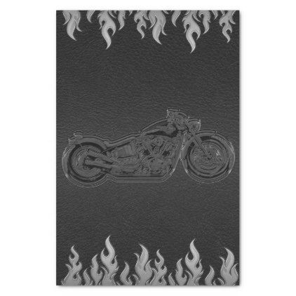 #Black Leather Silver Chrome Motorcycle Biker Party Tissue Paper - #wedding gifts #marriage love couples