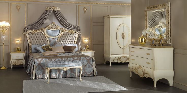 Camera da letto stile 700 modello Angioline  laccata con decori foglia oro antico