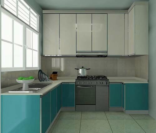 Fresh blue and white l shaped kitchen cabinet Appealing IdeenL f rmige K che