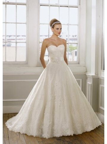 Lace Princess Flower Sweetheart Wedding Dress