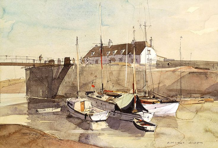 Watercolour on Paper. Whilst on summer holiday in Porlock, Somerset, Hilder relates: 'I took my sketchbooks everywhere, ashore and afloat, concentrating on observation, which is harder than mere looking'. And accurate observation is clearly achieved: this is very fine watercolour painting.