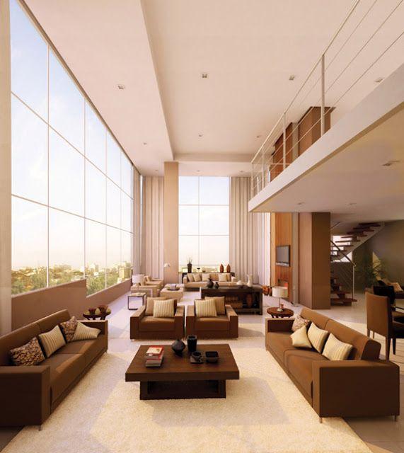 Pin By Chirine Khalaf On Home Interior: Ambientes Com Pé-Direito Duplo E Mezaninos Modernos