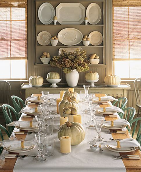 ♥Dining Room, Decor Ideas, Tables Sets, Dinner Parties, Fall Dinner, Martha Stewart, Fall Tables, White Pumpkin, Thanksgiving Tables