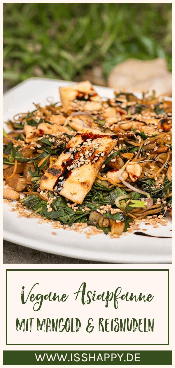 Veganes Mangold Rezept mit Reisnudeln & Erdnüssen – einfach, lecker & gesund
