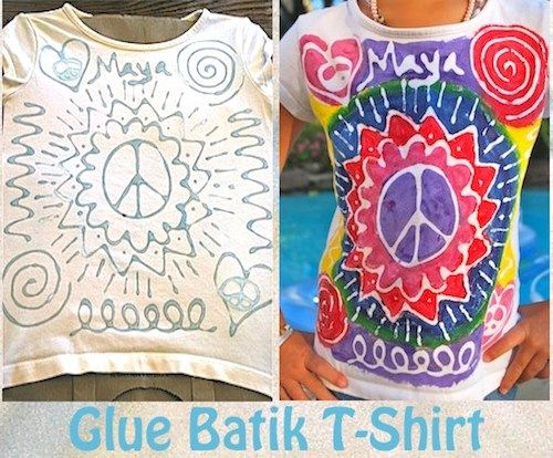 "Easy and cute:). ""Glue Batik"" t-shirt painting for kids."