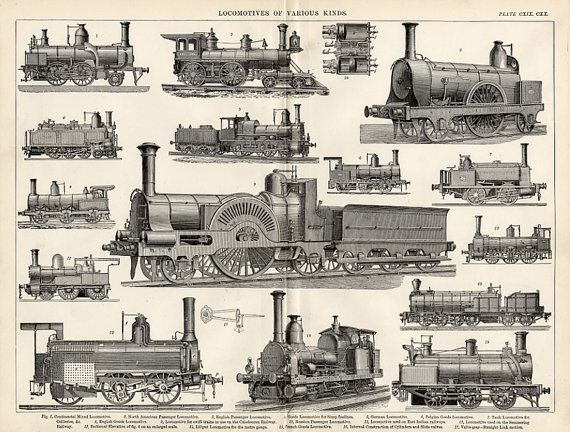 Steam Locomotives Print - 1894 Industrial Print of 15 ...
