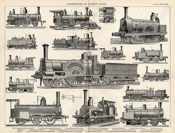 Steam Locomotives  1894 Industrial Print of by VintageDecorPrints, $85.00