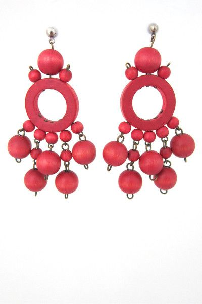 aarikka, Finland - vintage red drop earrings