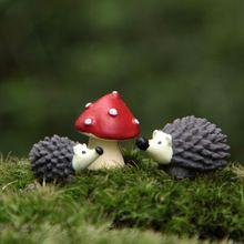 Artificial mini erizo con red dot setas miniaturas jardín de hadas gnomes musgo terrario de resina artesanías decoraciones para el hogar(China (Mainland))