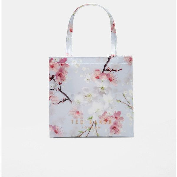 Oriental Blossom small shopper bag (£21) ❤ liked on Polyvore featuring bags, handbags, tote bags, light grey, floral print purse, ted baker handbags, flower handbags, shopping bag and floral tote