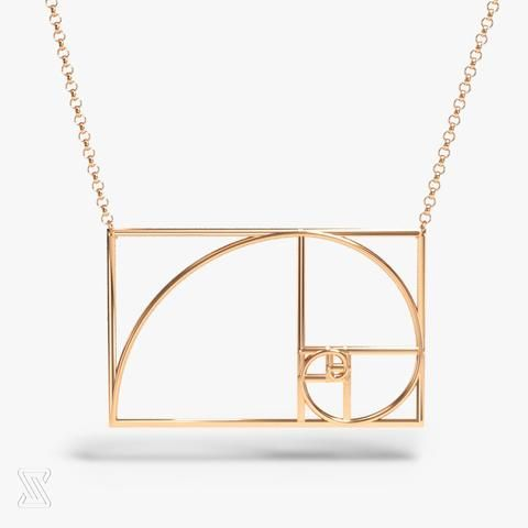 golden ratio - science inspired jewelry - 14K rose gold plated brass - 2