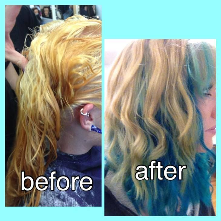 Before and After blonde colour correction to turquiose and blonde coloured by Rachel from Morning Star Salon