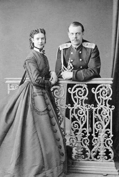 Parents of Nicholas ll. Photo taken when Tsar Alexander lll was still Grand Duke Alexander Alexandrovich, Tsarevitch of Russia and Grand Duchess Marie Feodorovna Married: November 9, 1866.
