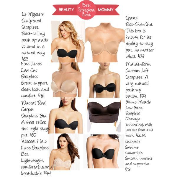 Find Your Best Strapless Bra Ever. This list reveals the best bras for small to average busts (up to a C cup) and hints for choosing the right one for you. http://beautymommy.com/