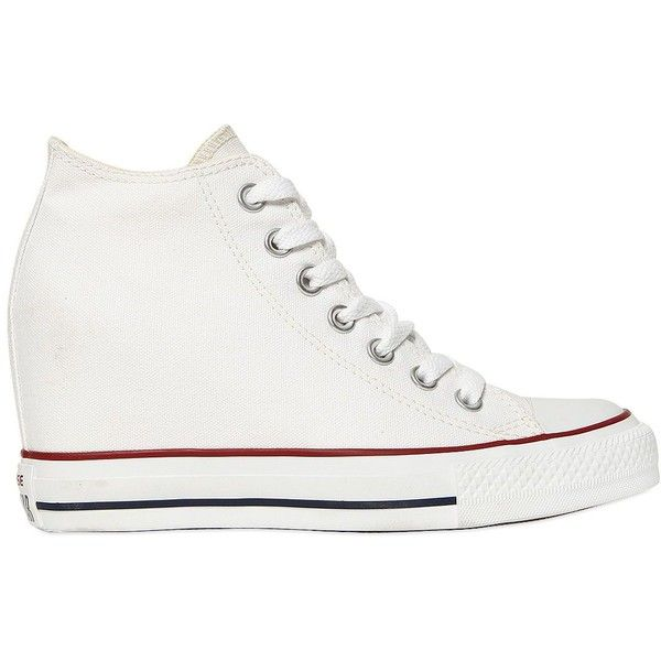 CONVERSE 80mm All Star Mid Lux Wedge Sneakers - White ($130) ❤ liked on Polyvore featuring shoes, sneakers, white, wedge sneaker shoes, platform wedge shoes, wedges shoes, wedged sneakers and converse sneakers
