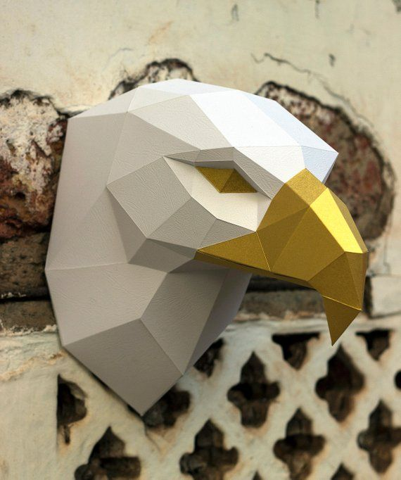 Papercraft 3D EAGLE Head Pepakura PDF Template Low Poly