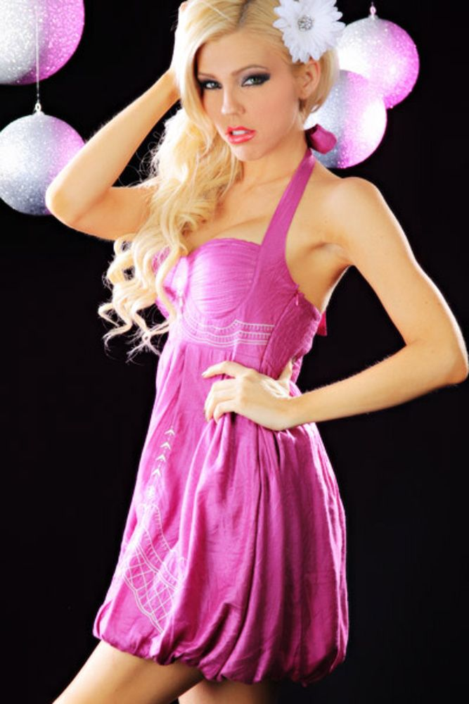 MAGENTA HALTER PLEATED EMBROIDERED SMOCKED BACK BUBBLE DRESS | Make up Alleys
