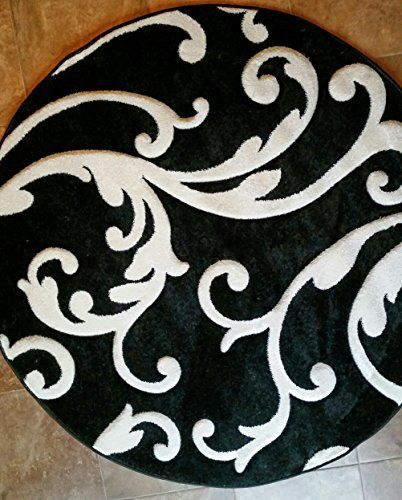Modern Round Area Rug Hollywood Black Amp Pure White Design