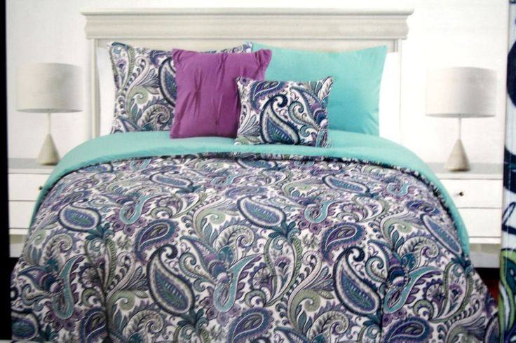 Cynthia Rowley Teal Purple Paisley 2pc Twin Duvet Cover