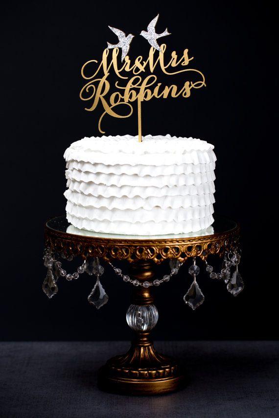 Mr & Mrs custom 'last name' cake topper with love birds