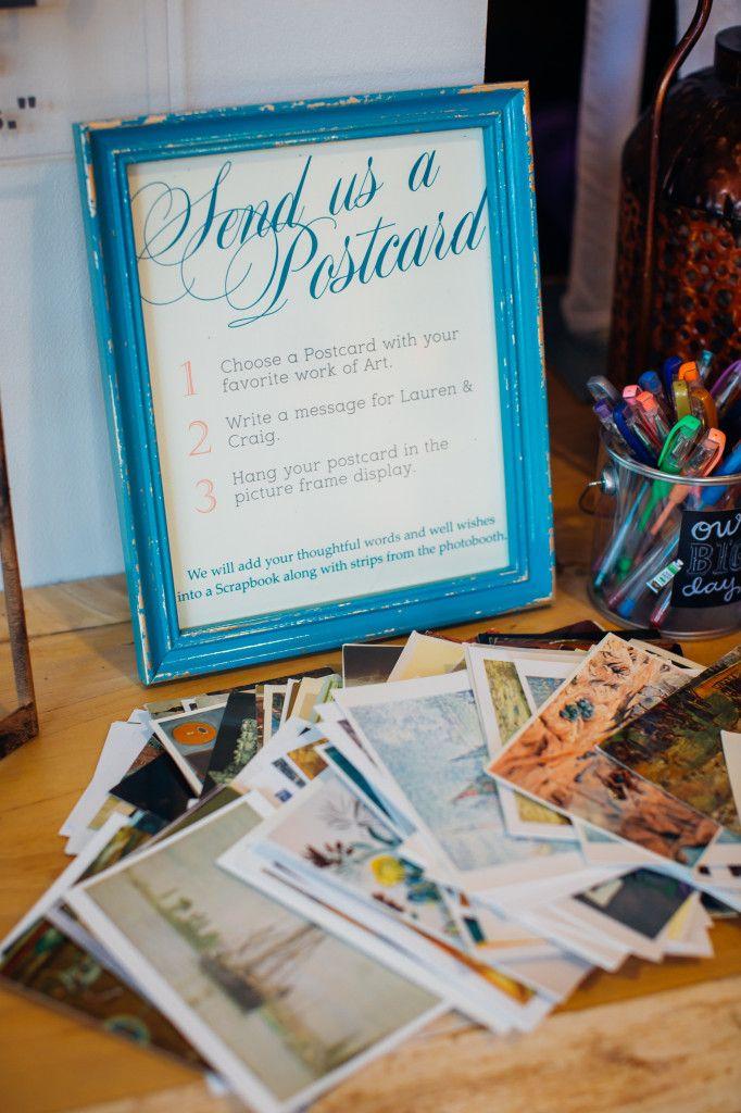 send us a postcard / vintage / wedding sign / reception / postcard guestbook