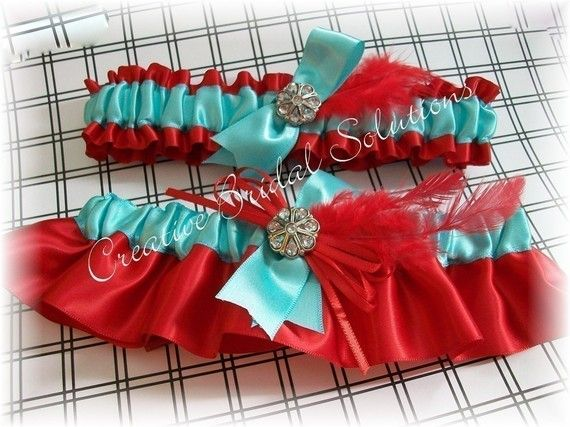Aqua and Red Bridal Garter Set by CreativeBridal on Etsy, $35.00