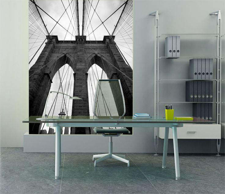 Eazywallz  - Brooklyn Bridge in black and white Wall Mural, $113.49 (http://www.eazywallz.com/brooklyn-bridge-in-black-and-white-wall-mural/)