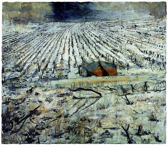 Untitled. Oil, emulsion, acrylic, charcoal, lead boat, branches and plaster on canvas. 2006, by Anselm Kiefer