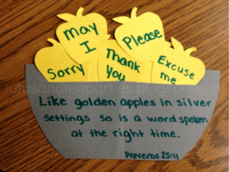 "Scripture: ""Like golden apples in silver settings so is a word spoken at the right time."" ~Proverbs 25:11. Snack: apple slices; Craft: fruit bowl. (Needed: stencils, pencils, markers, glue, scissors, yellow and gray construction paper.)"