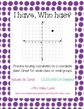 This is a great game to get your students to practice locating ordered pairs! This goes along with the 6th grade common core standard CCSS.MATH.CONTENT.6.NS.C.8: Solve real-world and mathematical problems by graphing points in all four quadrants of the coordinate plane.