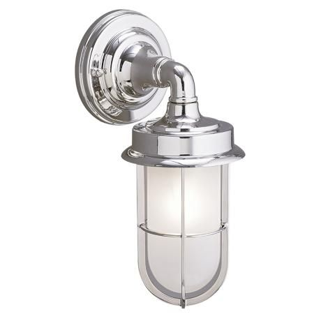 Industrial chrome finish 11 3 4 high outdoor wall light chrome finish bathroom vanity for Chrome industrial bathroom lighting