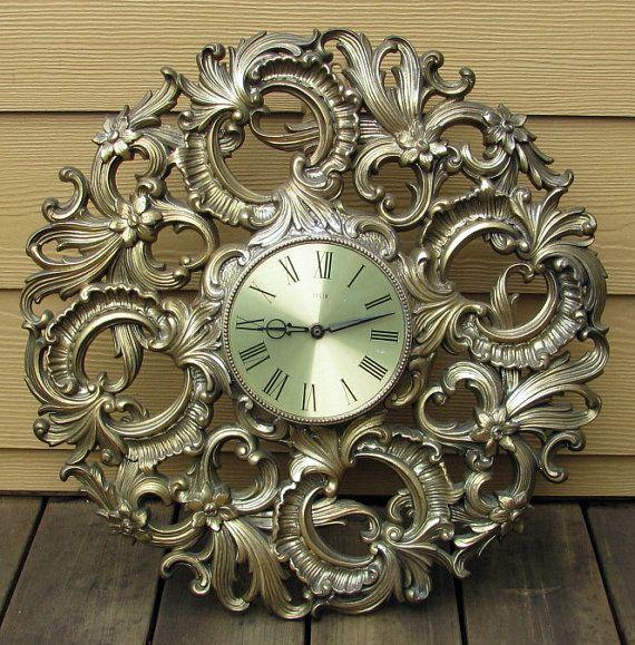 60 vintage elgin hollywood regency ornate huge wall clock battery operated works gold finish