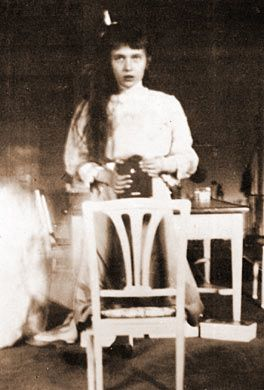 """I took this picture of myself looking at the mirror. It was very hard as my hands were trembling.""-exerpt from a letter written by Anastasia to her father on October 28, 1914"