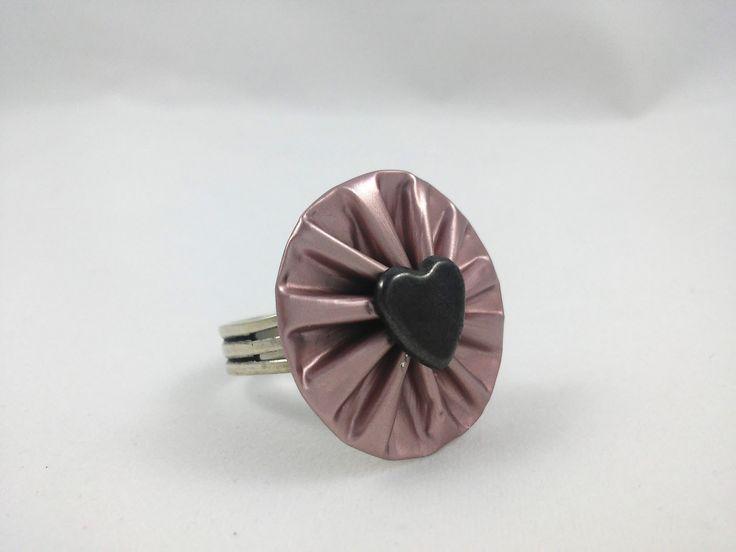 Bague coeur en capsule de café Nespresso couleur vieux rose