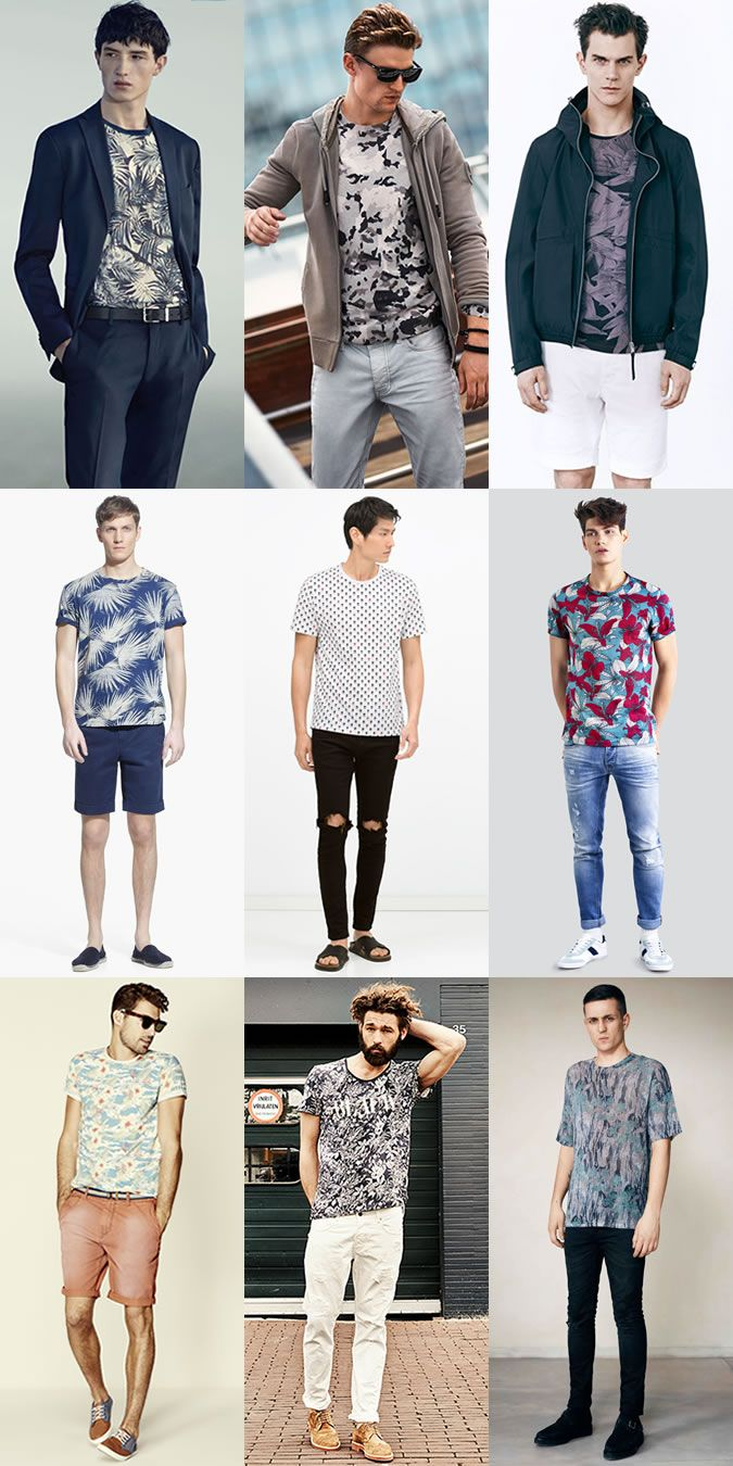 5 Men 39 S Key Look For 2015 Spring Summer 3 Printed T Shirts Outfit Lookbook Inspiration