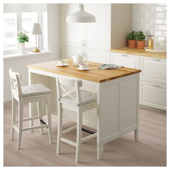 Table Ilot Central Avec Rangement: IKEA TORNVIKEN Off-White, OAK Kitchen Island In 2019