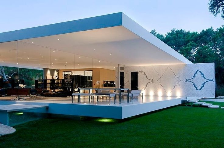 a house with glass walls