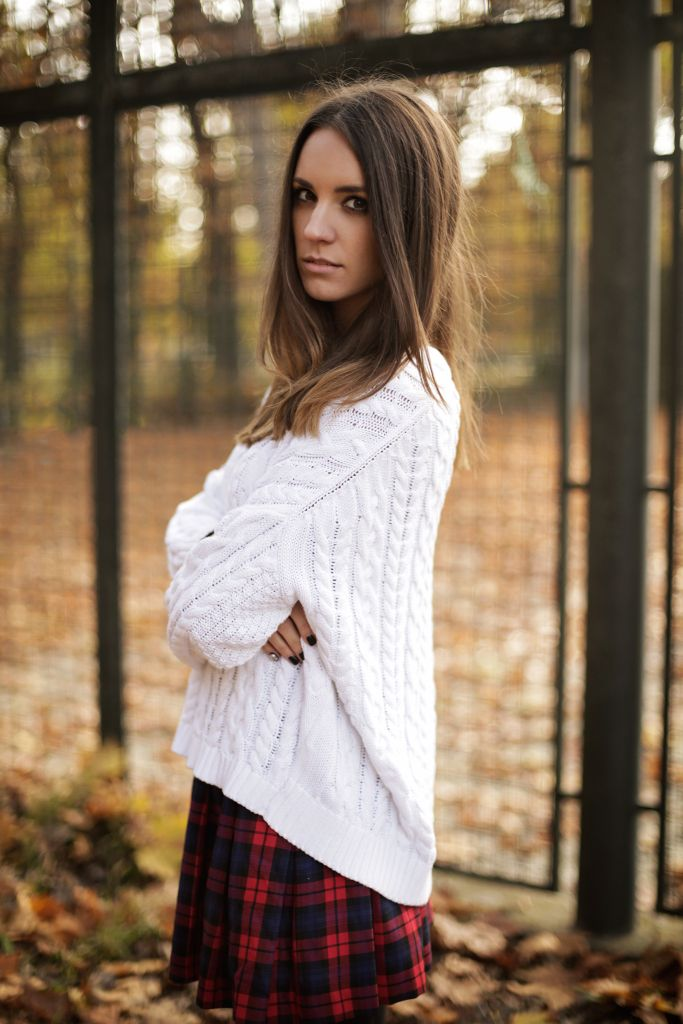 tartain, skirt, outfit, fall, autumn, fashion blog, fashion blogger, h&m, boots, ootd, blog, blogger, new look