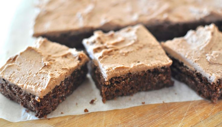 A simple, crumbly, choc hazelnut slice slathered with a simple chocolate icing. If one of these appears next to an afternoon coffee, it's a good day.