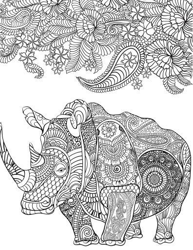 136 best coloring hippo, rhino images on Pinterest | 30th, Animais ...