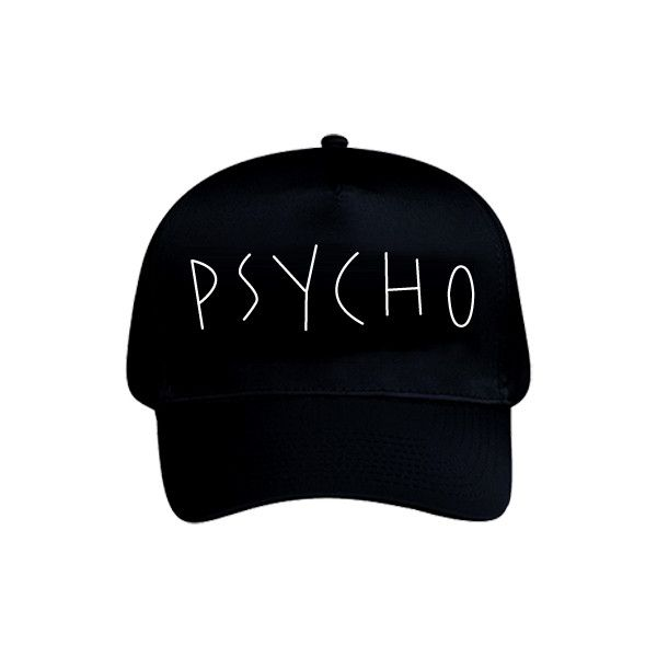 【AZS】PSYCHO CAP (BLK) ($46) ❤ liked on Polyvore featuring accessories, hats, five panel hat, 5 panel cap, cap snapback, snapback hats and 5 panel snapback hats
