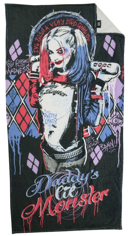 Toalla de playa Escuadrón Suicida, Harley Quinn, Daddy, 150 x 75 cm  Toalla de playa con la imagen de Harley Quinn, uno de los componentes del Escuadrón Suicida, perteneciente al universo DC Comic.