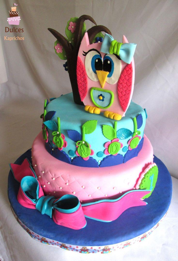 Torta de Cumpleaños 1 añito Torta Buho #TortaBuho #TortasDecoradas