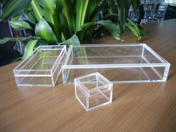 Customized high polished clear acrylic square box