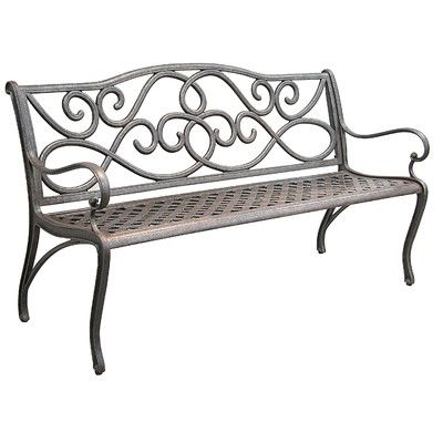 "Darby Home Co Mcgarity Cast Aluminum Park Bench Size: 34.5"" x"